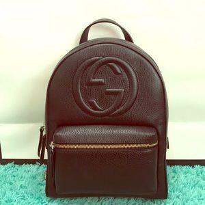 e8079118a7f036 Gucci Soho Chain Black Leather Backpack